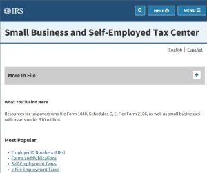 Screen shot of IRS Small Business and Self-employed Tax Center