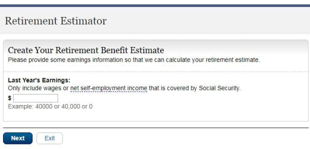 Screen shots of required fields on ssa.gov retirement estimator