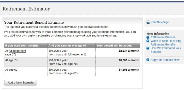 example of table showing hypothetical Social Security income at ages 67, 70 an 62